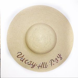 Vacay All Day Sequined Brim Hat Natural Tone D&K